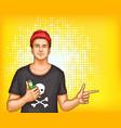 pop art man in tshirt cap holding vape vector image