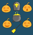 pumpkins face and halloween symbol flat design vector image