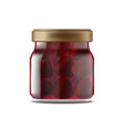 realistic detailed 3d strawberry jam glass jar vector image vector image