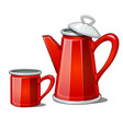 red enamel teapot and mug isolated on white vector image