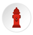 red fire hydrant icon circle vector image vector image