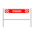 red ribbon finishing line finish vector image vector image