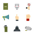 revolt protest icon set flat style vector image vector image