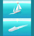sail boat white canvas sailing and passenger liner vector image vector image
