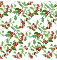 Seamless Christmas pattern with holly branches and