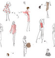 seamless pattern with fashion girls vector image