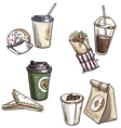 selection of takeaway snacks vector image