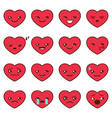 set different heart emoji vector image vector image