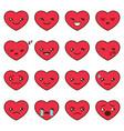 set of different heart emoji vector image vector image