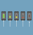 set smartphones with battery charge level vector image vector image