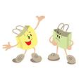 Shopping bag mascots chatting vector image vector image
