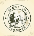 Stamp with map of Denmark vector image