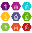 tag with 25 discount icon set color hexahedron vector image vector image