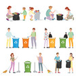 volunteers clean up wastes vector image vector image