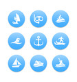 water sports icons diving surfing sailing vector image vector image