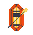 yellow and red inflatable dinghy with peddle part vector image vector image