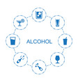 8 alcohol icons vector image vector image