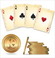 ace poker with golden poker chips vector image vector image
