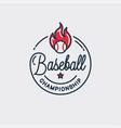baseball championship logo round linear ball vector image vector image