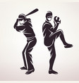 baseball players symbol stylized silhouette vector image