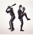 baseball players symbol stylized silhouette