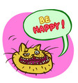 be happy cartoon cat head vector image vector image