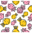 beetroot and radish seamless pattern outline vector image vector image
