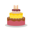 birthday cake flat icon for your design vector image vector image