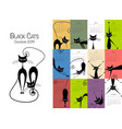 black cats design calendar 2019 vector image