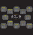 calendar 2019 yellow white text number grey vector image