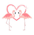 Cartoon pink flamingos cute flamingo couple birds