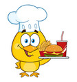 chef yellow chick holding a fast food tray vector image