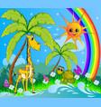 children cartoon background with a giraffe vector image vector image