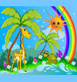 childrens cartoon background with a giraffe vector image vector image
