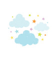 cute baby clouds with stars doodle drawing hand vector image