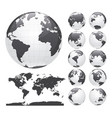 earth globes set and world map vector image vector image