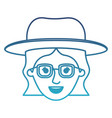 female face with hat and glasses and short wavy vector image vector image