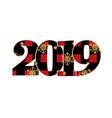 happy new year card black red textured number vector image vector image