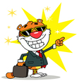 Happy Tiger Pointing Towards Success vector image