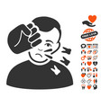head strike icon with love bonus vector image vector image