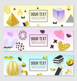 horizontal banners gold glitter geometric elements vector image vector image