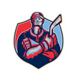 Ice Hockey Player Front With Stick Retro vector image vector image