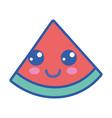 kawaii cute happy slice watermelon fruit vector image