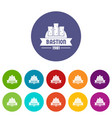 kingdom bastion icons set color vector image vector image
