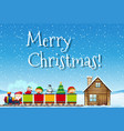 merry christmas santa and train concept vector image vector image