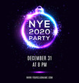new year eve 2020 party poster on blue background vector image