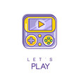 nintendo game logo in line style with purple and vector image vector image