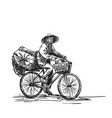 person in vietnamese hat cycling on heavy loaded vector image vector image