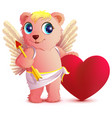 pink bear angel with wings holds heart and arrow vector image vector image
