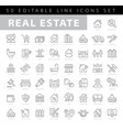 real estate editable stroke line icons vector image